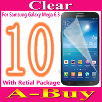 For Samsung Front  Clear Glossy Screen Protector Guard Film For Samsung Galaxy Mega 6.3 i9200 i9205 With Retail Package,10Pcs Lot
