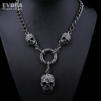 Wholesale 2014 Necklace Men Black Long Chain Crystal Skull Necklace Statement Fashion Jewelry full skull skeleton crystal big choker necklaces Evbea