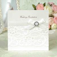Wholesale Genuine Luxury Pure handmade white lace Pearl romance wedding invitation card with envelope amp seal free Printing MOQ