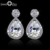 Wholesale Luxury Crystal Stud Earrings JewelOra EA101297 Fashion Jewelry CZ Cubic Zirconia Lady Earrings For Women
