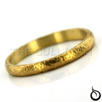 Wholesale DESIGNER HAMMERED HALF DOMED WEDDING BAND STACK ARTISAN RING SOLID K PURE GOLD