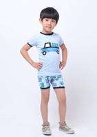 Boy Summer 18M,24M.3T.4T.5T.6T  Baby Pajamas 8003 Children Clothes Truck Light Blue Short Sleeve T-shirts+Shorts 2 Pcs Set Pajamas Kid Outfits
