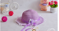 Wholesale Hot style Baby girl straw sun hats for kids wide brim beach hat Children caps kids straw hat