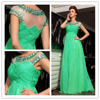 Reference Images Crew Chiffon Beautiful Charming Green A-line Formal Evening Dresses Cap Sleeves Pleats Beads Rhinestones Long Party Gowns Floor length