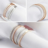 Band Rings Celtic Women's 18K Gold Silver Rose Gold Korean Style Tiny Rhinestone Rings Fashion Midi Finger Rings for Women r036