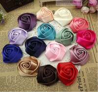Wholesale DIY Baby20 mm Satin Rolled Ribbon Rose Flowers fabric rosettes flower women s hair accessories