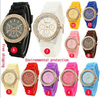Wholesale Mix colors rose diamond stone Geneva watch candy jelly silicone band Unisex Quartz watches GW007