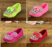 Girl Summer Cotton 5%off OUTLETS!2014 Spring Girls Rhinestone bow shoes! Square mouth loose fit shoes! Drop ship!sale!Wholesale shoes! 6pairs 12pcs JJ