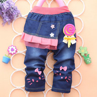 jeans pants - 2014 new cartoon girl jeans Trousers children jeans children s pants girl pants
