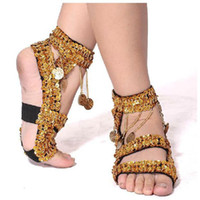 Wholesale Belly Dance Crystal Hanging Coins Shoes Belly Dancing Shoes Show Shoes Wear Stage Red Rose Gold Silver Purple