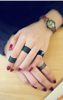 Band Rings Celtic Women's Black Punk Finger Knuckle Rings Set Midi Ring Costume Jewelry Rings(3pieces in one set) r043