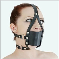Masks sex mask - Sex Mouth plug Harness Hood Bondage Mask ball gag mouth Leather Sex Toys