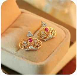 Wholesale Fashion Betsey Johnson Rhinestone Crown Stud Earrings