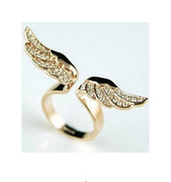 Wholesale Lovers Angel Wings ring Punk Style adjustable alloy rings jewelry golden silver