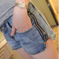 Jeans Women Bootcut Free shipping side zipper low waist ripped short jeans women washed fashion denim shorts S M L XL