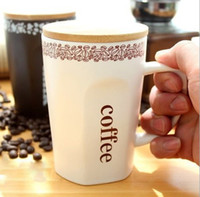 Wholesale Starbucks black and white coffee mugs Fine bone china cup Simple wooden cover creative Starbucks cup WX