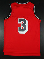 Basketball Men Sleeveless Top Quality ! Men's Swingman Basketball Jerseys Heat #3 Dwyane Wade Red Black Throwback Embroidery Logo Mix Order