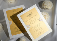 Wholesale NEW HOP SALE Fashion white card and gold sheets wedding invitations cards personalized invitations Free Custom printing Free design CW0049