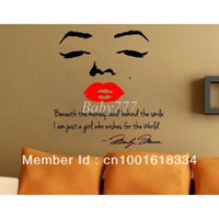 Graphic vinyl PVC Animal Free Shipping Hot Selling Marilyn Monroe Red Lips Wall Decal art letter decor sticker bed room mural NO.1 60x60cm SI 8002