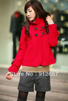Cheap 2013 Plus Size New Arrival Clothing Slim Short Design Double-breasted Woolen Overcoat Woolen Women Jacket Red Free Shipping