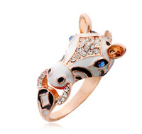 band of horses - 2014 hot style COLOR New Year of the Horse Ring Diamond ladies ring Popular paint rings Cheap wedding jewelry Prom Jewelry Y