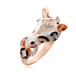 Wholesale 2014 hot style COLOR New Year of the Horse Ring Diamond ladies ring Popular paint rings Cheap wedding jewelry Prom Jewelry Y