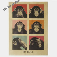 "Graphic vinyl PVC Animal Large Vintage Paper Retro Poster -Orangutans My Rule53*38cm(21""X15"")& Vintage Home Wall decorate Cool Poster"