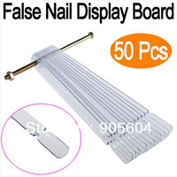 Wholesale 50Pcs set Clear False Nail Art Board Tips Stick Polish Foldable Display Practice Fan