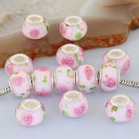 Wholesale 100X Pink Handmade Murano Lampwork Glass Loose European Beads