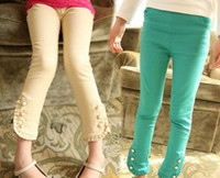Wholesale 2014 Spring Autumn new style Children ruffle elastic force Pencil Pants Girls joker Trousers Pure color Kids Pants TX57