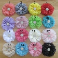 Wholesale Children Hair Accessories Ballerina Chiffon CM Fabric Flower With Clear Acrylic Rhinestone Buttons