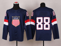 Ice Hockey Men Full 2014 Olympic and Paralympic Winter Games Hockey Jerseys USA National Team 88 Kane Navy Blue Hockey Sports Wears Cheap Hockey Wears Hot Sale