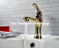 Wholesale New Modern PVD Gold Single Hole Bathroom Sink Basin Faucet Mixer Tap w Single Handle