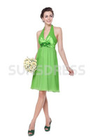Reference Images Halter Elastic Silk like Satin Lime Green Empire Halter Sexy V-neck Flower Bridesmaid Party Dress