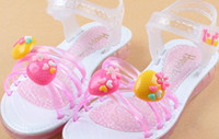 Women Low Heel  Female child sandals 2014 child crystal shoes princess shoes flat heel plastic water-cement sandals