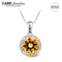 Pendant Necklaces Silver 925 Silver T400 using Brazilian natural citrine pendant S925 silver necklace new jewelry female encounter 14 yearsT400