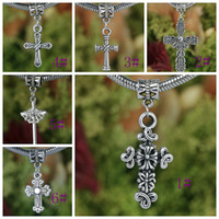 Wholesale 80pcs Mixed Tibetan Silver Assorted Cross Dangle Beads Fit European Charm Bracelet DIY
