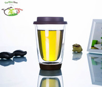 ECO Friendly silicone cup lid - 4PC fl oz ml Pyrex Clear Glass Double Wall Tea Water Coffee Gift Mug with Coffee Silicone Lid Cover Office Mug Thermo Glass Cup