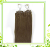Wholesale Light Golden Brown Brown Grade AAA remy human hair S Micro rings loop hair inches Hair Extensions g sliky straight
