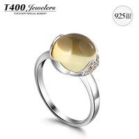 Band Rings Silver 925 Silver T400 S925 using natural Citrine Ring Sterling Silver Rings Ladies Retro New Year's gift petT400