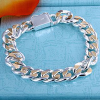 Wholesale Brand New Men s silver plated bracelet with sideways square buckle holiday gifts CXH091