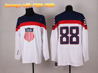 Ice Hockey Men Full 2014 Olympic Canada and Paralympic Winter Games Hockey Jerseys White 88 Kane Hot Sale Olympic Jerseys Sports Wears with 1960 1980 On Sleeve
