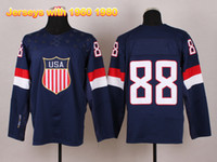 Ice Hockey Men Full 2014 Sochi Olympic Winter Games Hockey Jerseys Team USA 88 Kane Jerseys Mens Hockey Wears Brand Sportswear Ice Hockey Jersey Allow Mix Order