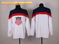 Ice Hockey Men Full 2014 Olympic Winter Games Hockey Jerseys USA Team Hockey Wears White Blank Hot Sale Olympic Jerseys Mens Sportswear with 1960 1980 On Sleeve