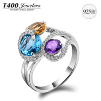 Cheap T400 Natural Topaz jewelry using natural Citrine Amethyst Ring S925 Love III womenT400