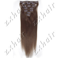 Wholesale 15 quot quot quot quot per set Clip in hair Human Hair Extensions