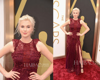 Model Pictures ireland - 2014 The th Annual Academy Awards Ireland Baldwin Celebrity Red Carpet Dresses Vintage Lace Crew Neck Side Slit Long Evening Gowns