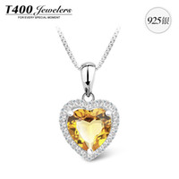 Pendant Necklaces Silver 925 Silver T400 Natural Brazilian Citrine Pendant Necklace S925 silver necklace Sweetheart new jewelry sweet words 14 yearsT400