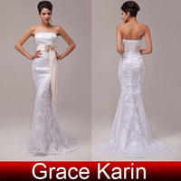Elegant Women Lace Wedding Dresses Strapless White Sheath Br...