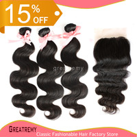 Lace Closure(4*4) With 3pcs Bundles Full Head 5A Brazilian M...